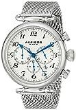 Akribos XXIV Men's AK627SSW Retro Chronograph Stainless Steel Watch with Mesh Bracelet