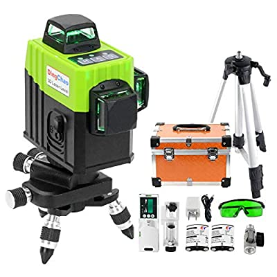 DINGCHAO Construction Green Laser Level Kit with Tripod,Receiver/Detector, Micro Adjust Base,Battery, 3 x 360 Line Laser Three-Plane Alignment Level Self-Leveling Instrument