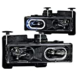 92 chevy 1500 hid headlights - 1995-1999 Chevy Tahoe Euro Clear Headlights Halo Rim + 8 Led Fog Bumper Light