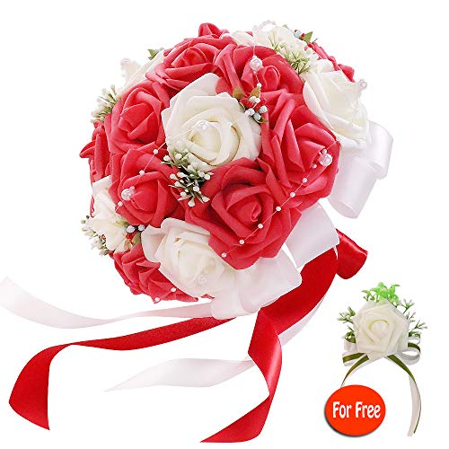 (six-qu Rose Wedding Bouquet,Artificial Foam Bridal Bouquet and Groom Brooch with Pearl Ribbon Perfit for Romantic Wedding (White-Red))