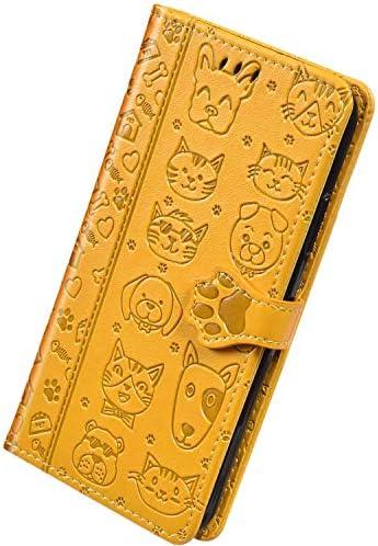 Herbests Kompatibel mit Samsung Galaxy A20e Hülle Ledertasche 3D Katze Hund Muster Schutzhülle Brieftasche Klapphülle Klappbar Wallet Bookstyle Leder Handyhülle mit Magnet Kartenfach,Gelb