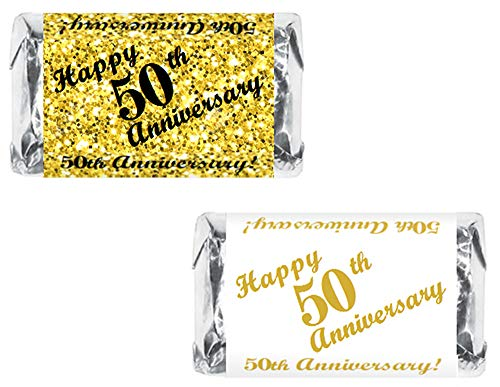 RokAPary 50th Anniversary Miniatures Candy Bar Wrapper, (Set of 60) Mini Candy Chocolate Bar Stickers; Gold and White, Candy Not Included