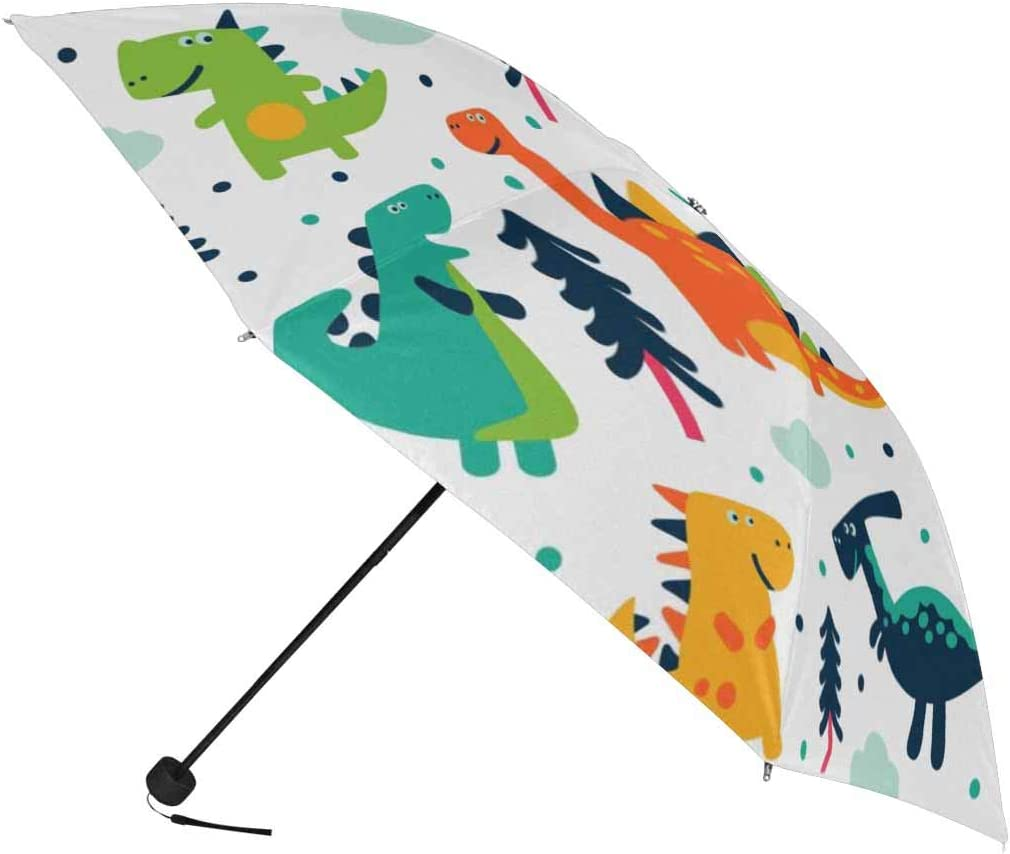 InterestPrint Custom Camouflage Dinosaur Anti Sun UV Foldable Travel Compact Umbrella