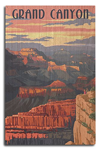 - Lantern Press Grand Canyon National Park, Arizona - Sunset View (10x15 Wood Wall Sign, Wall Decor Ready to Hang)