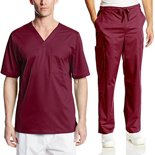 Cherokee Mens Luxe Scrub Set Super-Soft Fabric Medical/Dentist Uniform with V-Neck Top & Fly Front Drawstring Pant (Large, Wine) (Medical Cherokee Uniforms)