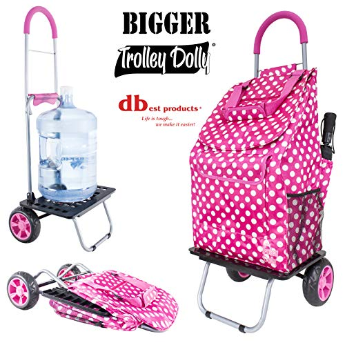 dbest products Bigger Trolley Dolly, Pink Polka Dot Shopping Grocery Foldable Cart ()