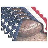 Vintage Leather Football Placemats Retro American Flag Table Mats Non-Slip Washable Heat Ristant Place Mats for Kitchen Dining Decor Tray Mat Set of 6