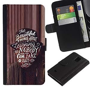 iBinBang / Flip Funda de Cuero Case Cover - Texto de motivación inspiradora - Samsung Galaxy S5 Mini, SM-G800, NOT S5 REGULAR!