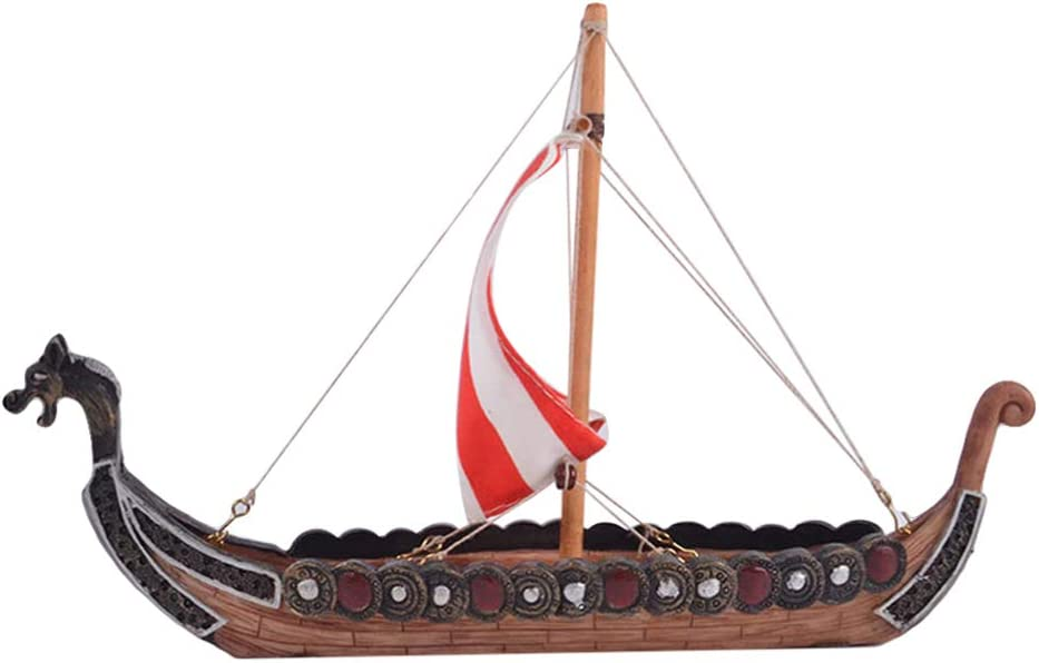 Garneck Pirate Ship Figurine Resin Viking Pirate Boat Centerpiece Collection Statue Nautical Decor For Home Desk Car Ornament