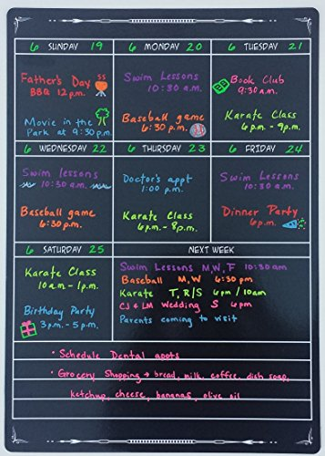Extra Large Weekly Black Fluorescent Magnetic Dry Erase Calendar 12