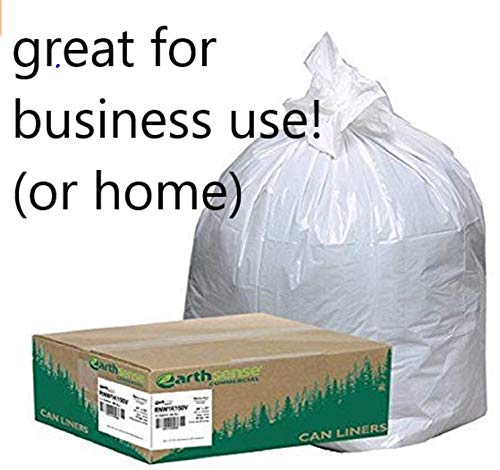 (Earthsense Commercial Trash Bags, Office, Store, Factory,Warehouse, Library Bussiness Trash can Liners, 24x33, 13 Gal.85 mil, White, case 150- (Buy 15 Cases in one Order get 1 More Free))