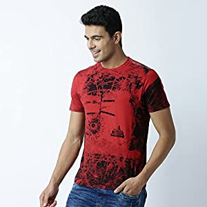 HUETRAP Men's Fiery Eyed and Red Printed Tee