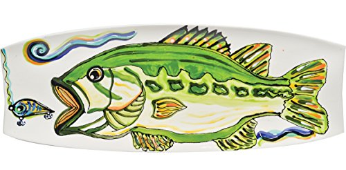 (Thompson & Elm Dana Wittmann Collection Jumbo Ceramic Serving Platter, 17.75 x 6.5-Inches, Bass)