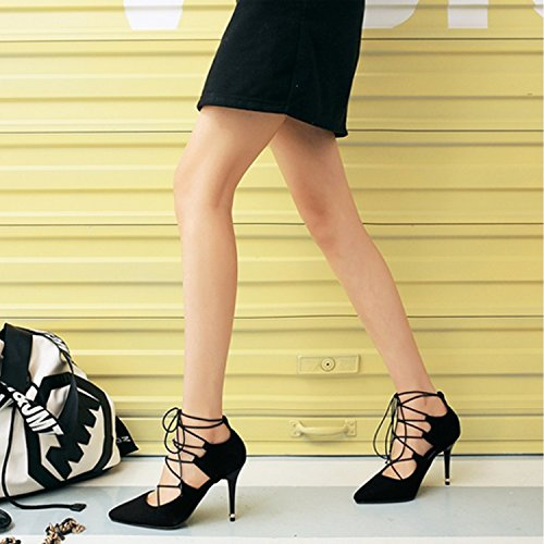 Ankle Women's Straps Synthetic Strappy Heel Stiletto Nonbrand Black Xw4nqOvW