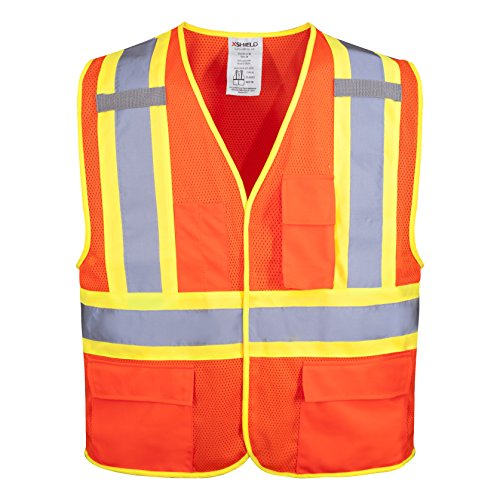 XSHIELD XS0100,High Visibility Safety Vest with Silver Stripe,ANSI/ISEA 107-2015 Type R Class2 Not FR (M, - Safety Radwear Vest