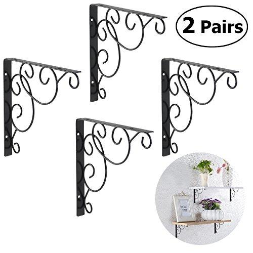 WINOMO 4pcs Shelf brackets Wall Mounted Floral Shelf Brackets Black