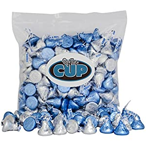 Hershey's Kisses Milk Chocolate - Silver & Blue It's a Boy Candy 2 Pound Bulk Bag - By The Cup