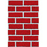 """Amscan Very Merry Christmas Party Brick Wall Scene Setters Room Rolls Decorations, Vinyl, 48"""" x 40', Pack of 4 Party Supplies, Red/White"""