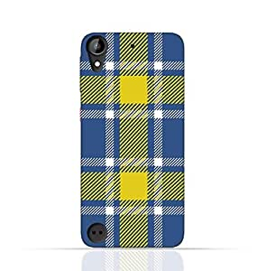 HTC Desire 530 TPU Silicone Case with Blue and Yellow Plaid Fabric Design