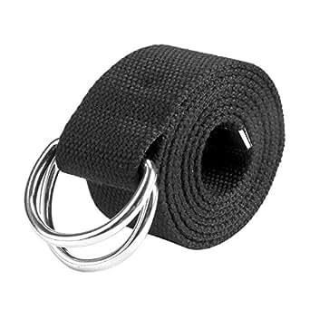 Ayliss Men's Candy Color Belt D-Rings Canvas Webbing Casual Waist Belt,Black