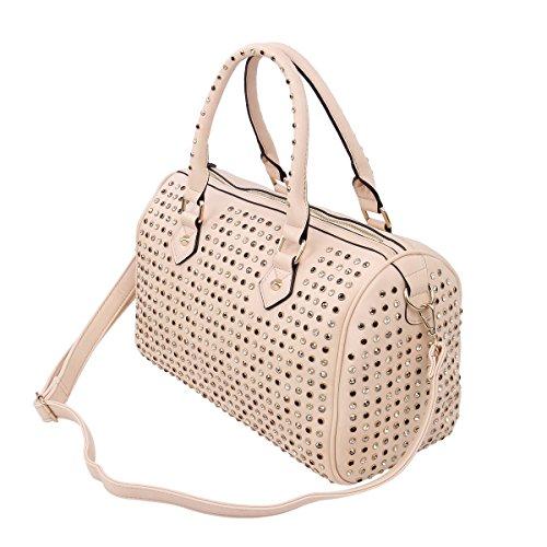 Premium Solid Color Studded Rhinestone Satchel Tote Shoulder Bag Handbag, (Studded Satchel Bag)