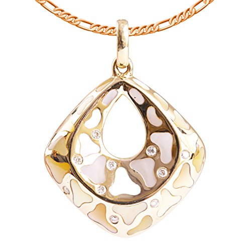9K High Polished Rose Gold with Yellow and White and Pink Pearl and 0.04ct Diamond Amazing Pendant