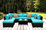 Outdoor PE Wicker Rattan Sofa - 9 Piece Patio Garden Sectional with Turquoise Cushion Furniture Set