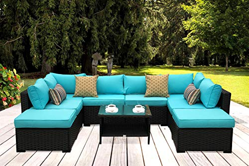 Outdoor PE Wicker Rattan Sofa - 9 Piece Patio Garden Sectional with Turquoise Cushion Furniture Set ()