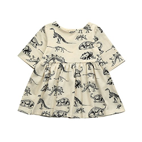 POPNINGKS Cartoon Dinosaur Print Sun Dress for New Born Infant Toddler Kids Baby Girls Clothes Outfits Beige]()