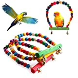 NNDA CO Colorful Swing Bird Parrot Rope Harness Hammock Hanging Toys Cockatiel Parakeet,Wood,1pc