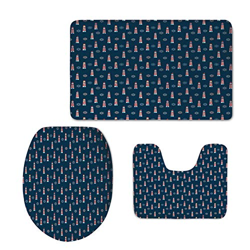 Fashion Bathroom Rug Set,Lighthouse,Abstract Helms Marine Navigation Towers Children Cartoon Style Pattern Decorative,Navy Blue Red White,3 Piece Toilet lid Cover mat Set -
