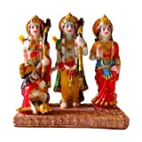 "Lord Rama with Sita, Lakshma and a Young Hanuman 5.5"" Statue Wood Base Includes Hem Incense with Prayer"