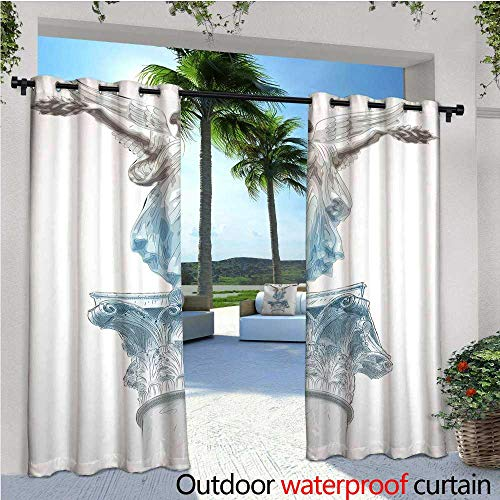 cobeDecor Toga Party Patio Curtains Antique Muse Statue Athens Hellenistic Period Mythological Monument Art Outdoor Curtain for Patio,Outdoor Patio Curtains W72 x L96 Light Blue -