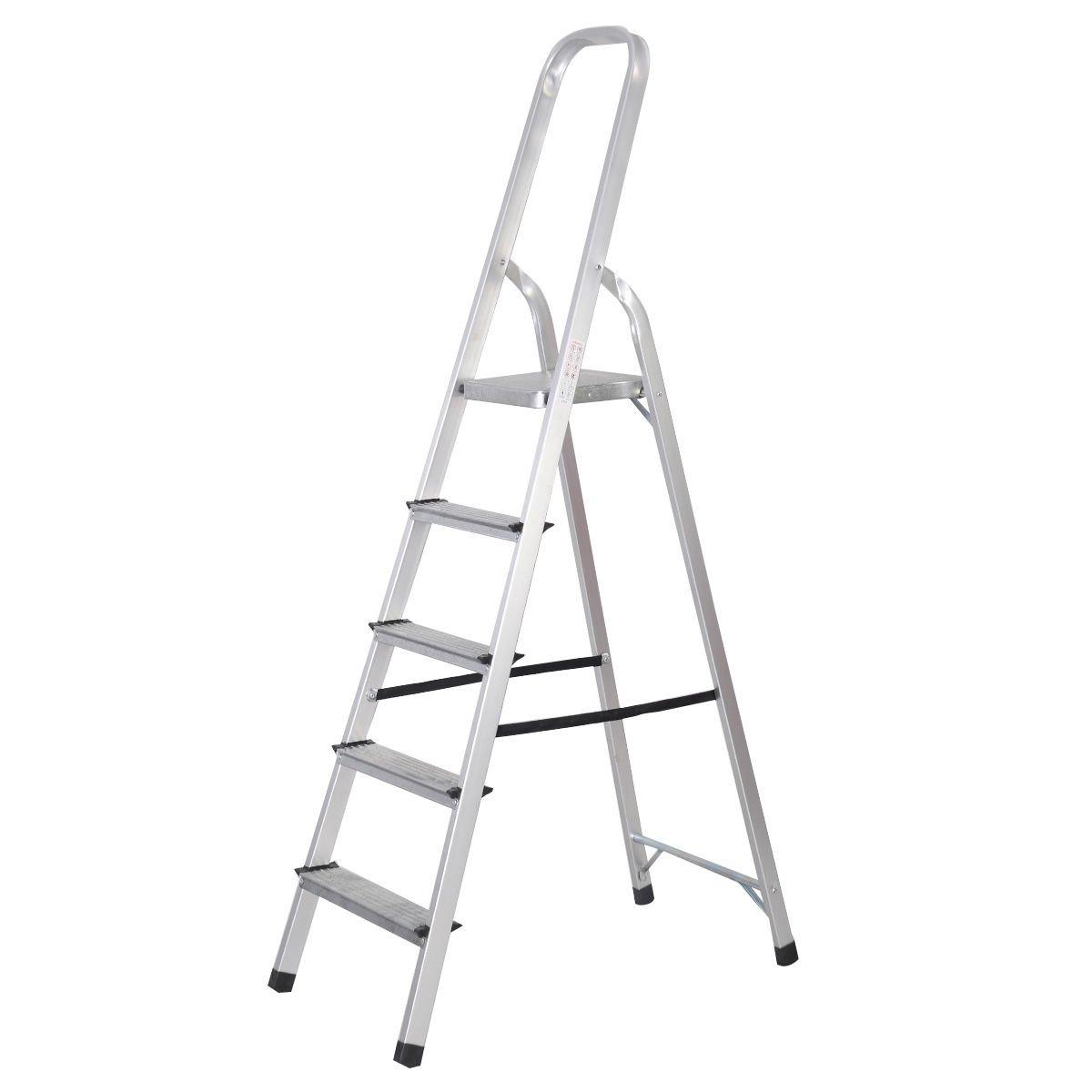 Goplus Foldable 5 Step Ladder Aluminum 6 foot Platform Ladder Non-slip 330 lbs Capacity