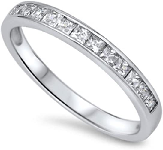 Sllaiss 925 Sterling Silver CZ Engagement Rings for Women Cubic Zirconia Wedding Rings Eternity Band Anniversary Jewelry Size 4-9 2 PCS