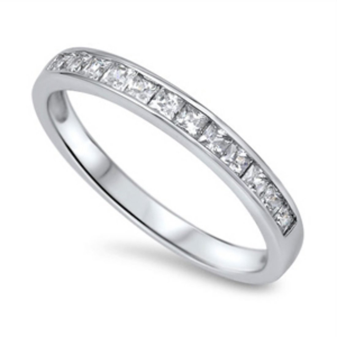 Half Eternity Band Ring Wedding Engagement Princess Cut Square Invisible Cubic Zirconia 925 Sterling Silver 5-12
