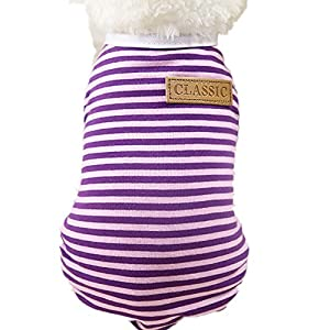 Napoo Clearance Pet Striped Shirt, Classic Puppy Vest T-Shirt Summer Apparel Dog Cat Clothes (Purple, L)