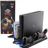 PS4 / PS4 Slim / PS4 Pro Base Vertical Enfriadora Cargadora Con Apoya Juegos (Negra)