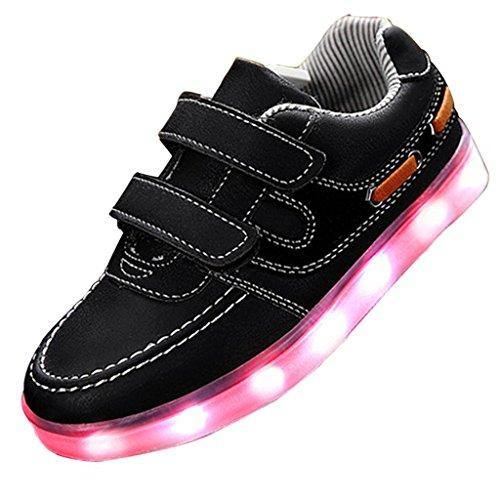 [Present:kleines Handtuch]JUNGLEST® 7 Farben Kind Jungen Mädchen USB Lade LED leuchten Sportschuhe Lum Schwarz