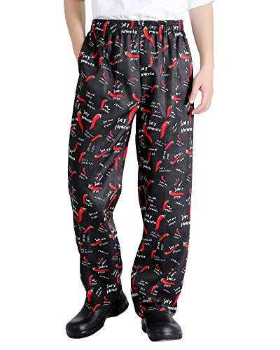 Men's and Women's Baggy Printed Chef Trousers Kitchen Uniforms with Elastic Waist Floral Restaurant Work Pants