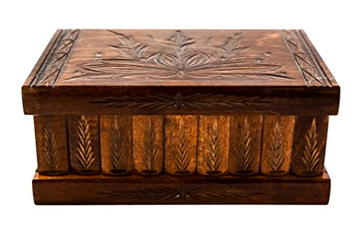 Wood Body Puzzle (Handcrafted Wooden Jewelry Puzzle Box (Large) – Secret Hidden Key & Storage Compartment for Rings, Necklaces, Earrings – Girls, Teens, Men and Women (Dark Brown))