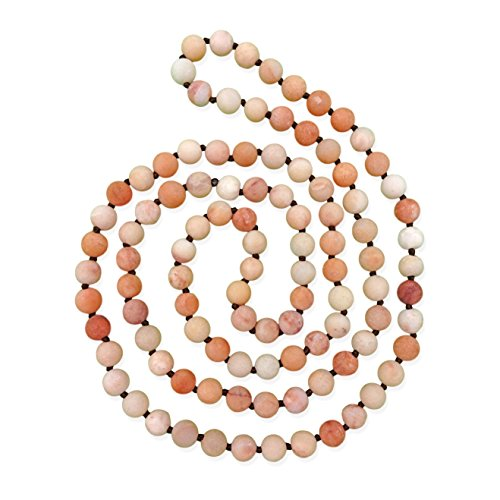 MGR MY GEMS ROCK! 36 Inch 8MM Matte Finish Semi-Precious Genuine Rosy Aventurine Long Endless Infinity Beaded Strand Necklace. ()