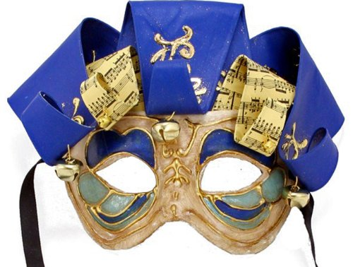 (Jolly Jester BLUE Mardi Gras Mask Venetian Ribbon Halloween)