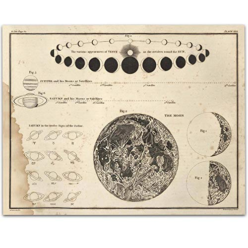 Celestial Phases - 11x14 Unframed Art Print - Great Gift for Astronomers and Space Exploration Enthusiasts