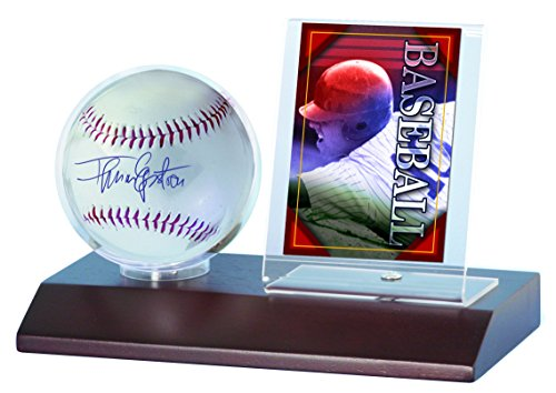 - MLB Dark Wood Base Ball and Card Holder