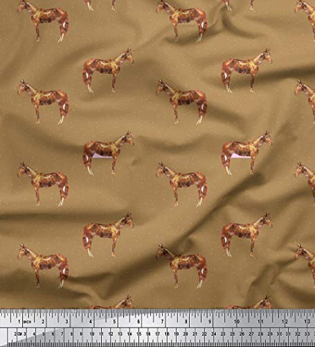 Soimoi Brown Heavy Canvas Fabric Horse & Dot Animal Print Fabric by Yard 58 Inch Wide