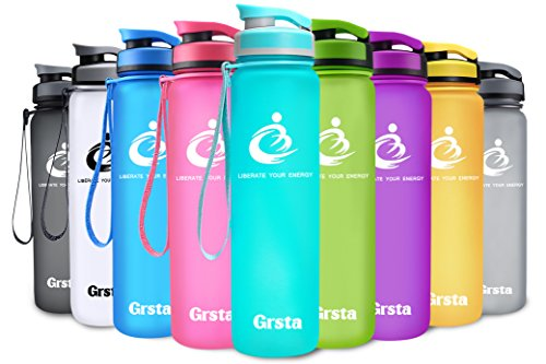 Grsta Sport Water Bottle 28oz(800ml), Wide Mouth Leak Proof BPA Free Eco-Friendly Plastic Drink Best Water Bottles for Outdoor/Running/Camping/Gym w Flip Top Lid & Filter Open with 1-Click(Light Blue) (800 Ml Bottle)