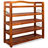 Wooden Shoe Rack 5 Tier Storage Cabinet Wood Shelf for Hallway Large Furniture Organiser Unit Brown Cupboard Racks