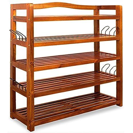Deuba | Zapatero | Estanteria para zapatos | madera dura de acacia | 5 baldas estables | 64 cm x 26 cm x 82 cm |