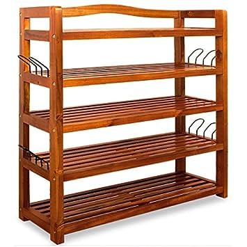 Wooden Shoe Rack 5 Tier Storage Cabinet Wood Shelf For Hallway Large